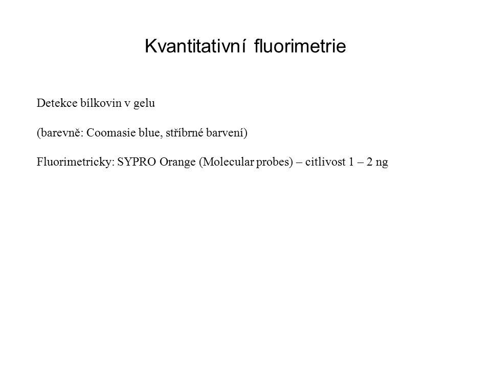 Kvantitativní fluorimetrie Detekce bílkovin v gelu (barevně: Coomasie blue, stříbrné barvení) Fluorimetricky: SYPRO Orange (Molecular probes) – citlivost 1 – 2 ng