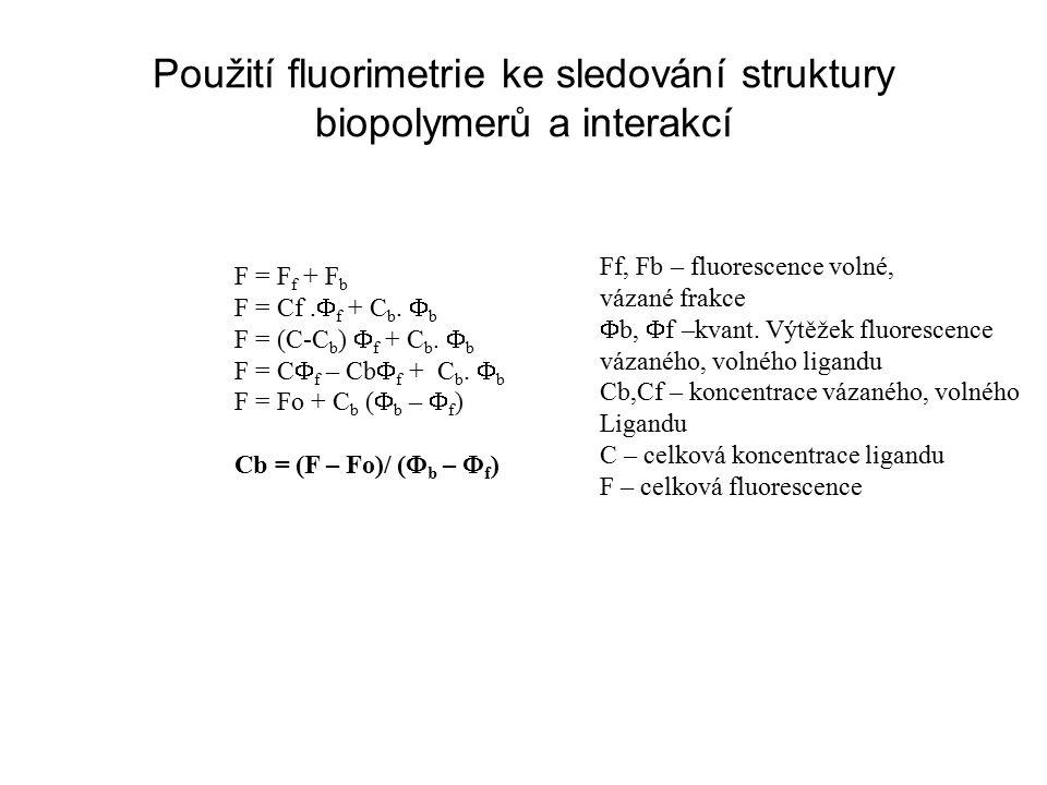 Použití fluorimetrie ke sledování struktury biopolymerů a interakcí F = F f + F b F = Cf.
