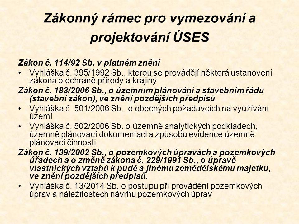 Zákonný rámec pro vymezování a projektování ÚSES Zákon č. 114/92 Sb. v platném znění Vyhláška č. 395/1992 Sb., kterou se provádějí některá ustanovení