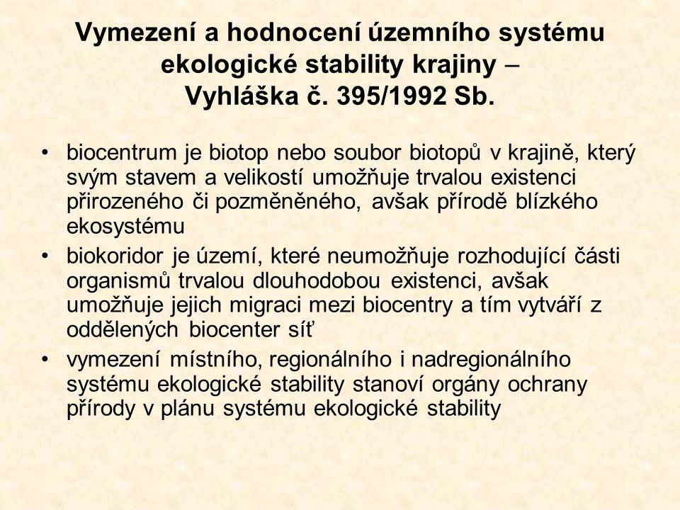 Vymezení a hodnocení územního systému ekologické stability krajiny – Vyhláška č. 395/1992 Sb. biocentrum je biotop nebo soubor biotopů v krajině, kter