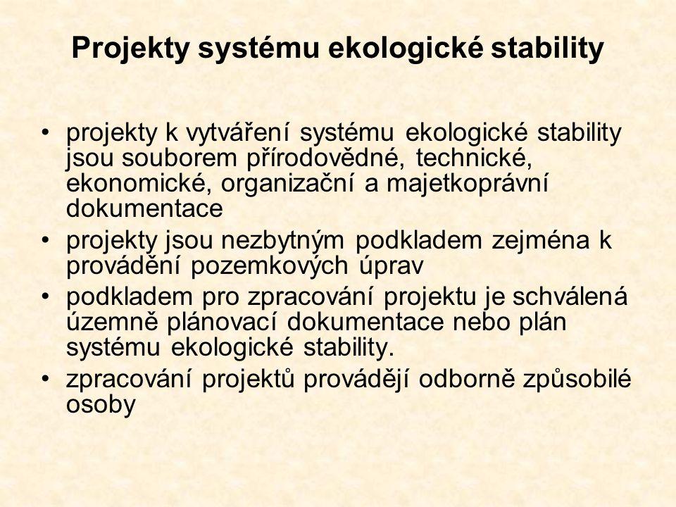 Projekty systému ekologické stability projekty k vytváření systému ekologické stability jsou souborem přírodovědné, technické, ekonomické, organizační