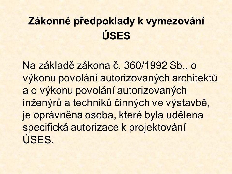 Zákonné předpoklady k vymezování ÚSES Na základě zákona č. 360/1992 Sb., o výkonu povolání autorizovaných architektů a o výkonu povolání autorizovanýc