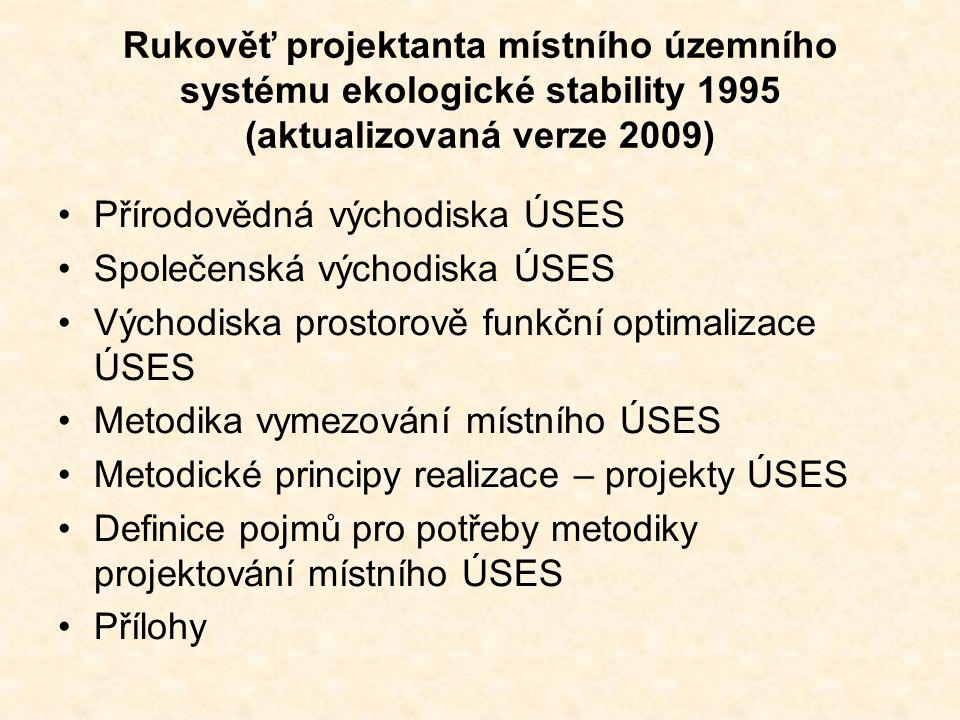 Rukověť projektanta místního územního systému ekologické stability 1995 (aktualizovaná verze 2009) Přírodovědná východiska ÚSES Společenská východiska