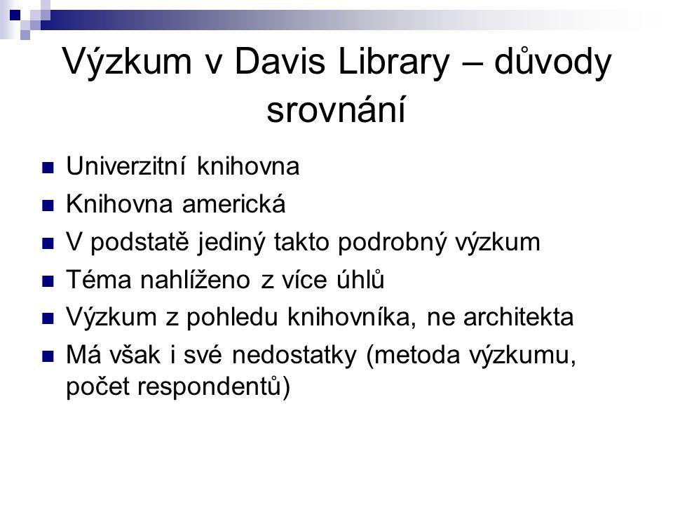 Výzkum v Davis Library – důvody srovnání Univerzitní knihovna Knihovna americká V podstatě jediný takto podrobný výzkum Téma nahlíženo z více úhlů Výzkum z pohledu knihovníka, ne architekta Má však i své nedostatky (metoda výzkumu, počet respondentů)