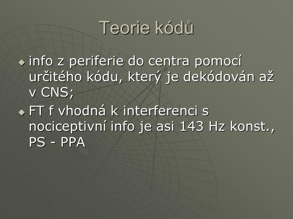 Teorie kódů  info z periferie do centra pomocí určitého kódu, který je dekódován až v CNS;  FT f vhodná k interferenci s nociceptivní info je asi 14