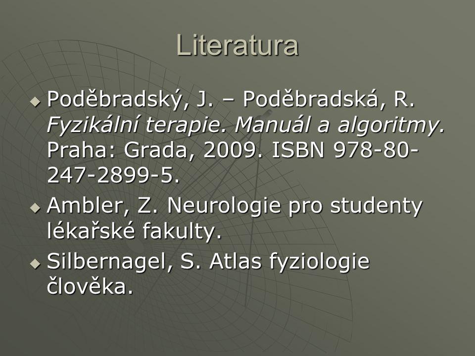 Literatura  Poděbradský, J. – Poděbradská, R. Fyzikální terapie. Manuál a algoritmy. Praha: Grada, 2009. ISBN 978-80- 247-2899-5.  Ambler, Z. Neurol
