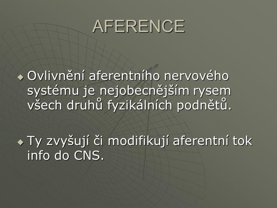 AFERENCE  Ovlivnění aferentního nervového systému je nejobecnějším rysem všech druhů fyzikálních podnětů.  Ty zvyšují či modifikují aferentní tok in