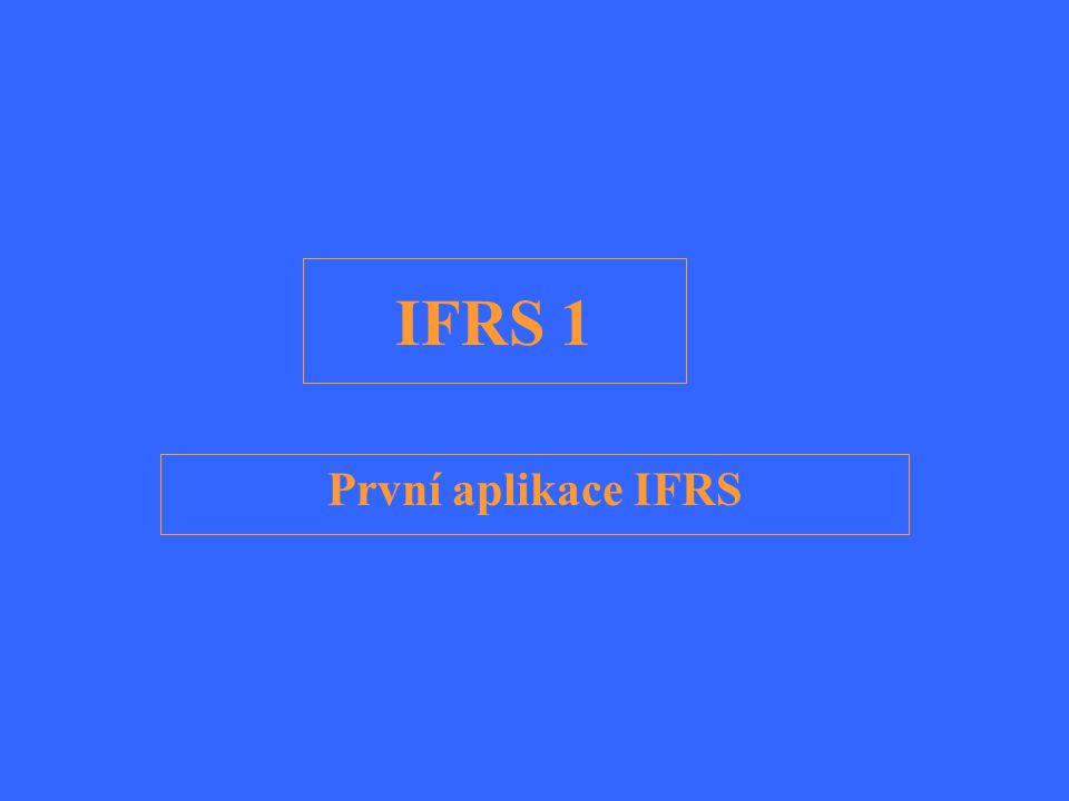 Cíl standardu Zajistit, aby první závěrka v souladu s IFRS a její mezitímní účetní závěrky za příslušnou část období, obsahovaly informace, které jsou: –Užitečné a srovnatelné.