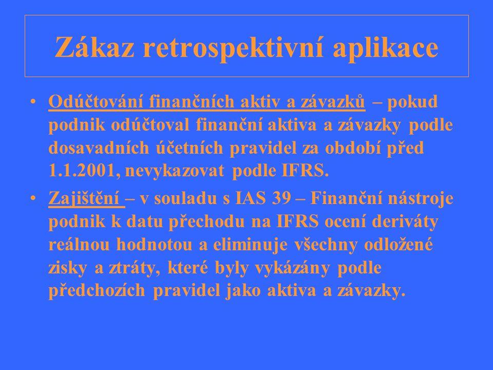 Odhady Odhady, které podnik používá v souladu s IFRS k datu přechodu na IFRS jsou konzistentní s těmi, které používal podle předchozích pravidel.