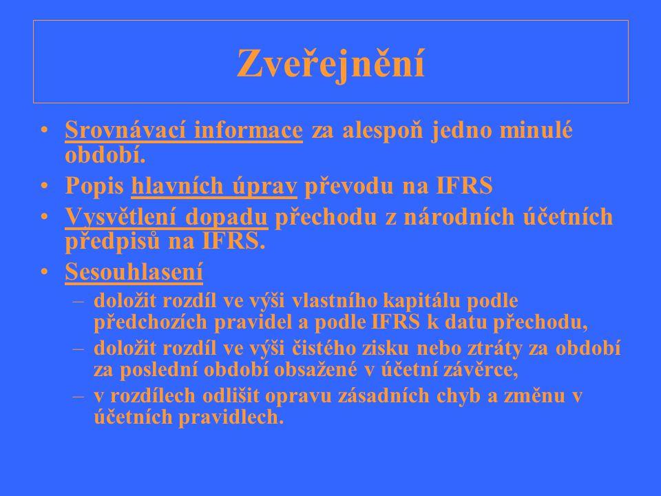 Zveřejnění Srovnávací informace za alespoň jedno minulé období. Popis hlavních úprav převodu na IFRS Vysvětlení dopadu přechodu z národních účetních p