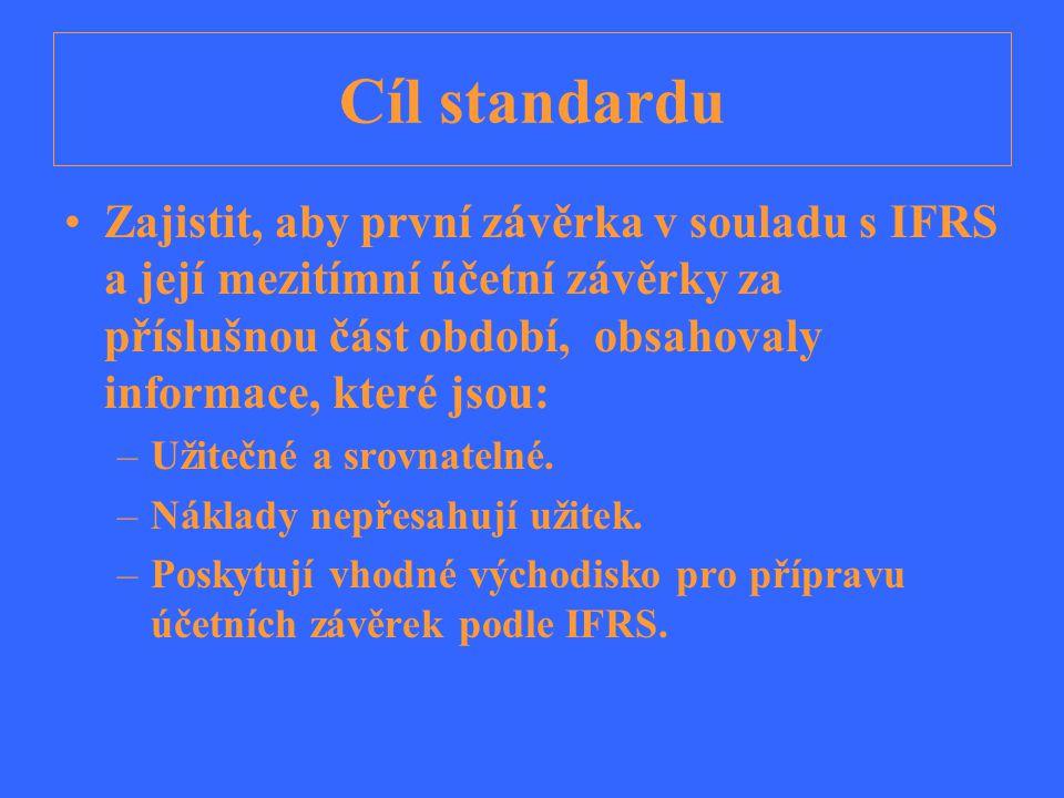 Rozsah působnosti Standard se používá pro přípravu: –účetních závěrek, které jsou poprvé zpracovány v souladu s IFRS, –přípravu mezitímních účetních závěrek, které jsou zpracovány v souladu s IAS 34 - Mezitímní účetní výkaznictví za období a tvořící část první aplikace IFRS.