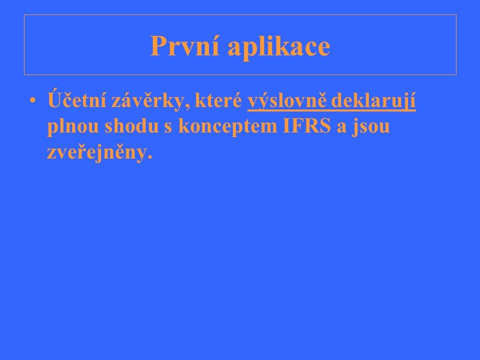První aplikace Účetní závěrky, které výslovně deklarují plnou shodu s konceptem IFRS a jsou zveřejněny.