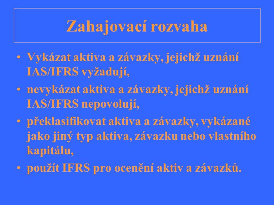 Zahajovací rozvaha Vykázat aktiva a závazky, jejichž uznání IAS/IFRS vyžadují, nevykázat aktiva a závazky, jejichž uznání IAS/IFRS nepovolují, překlas