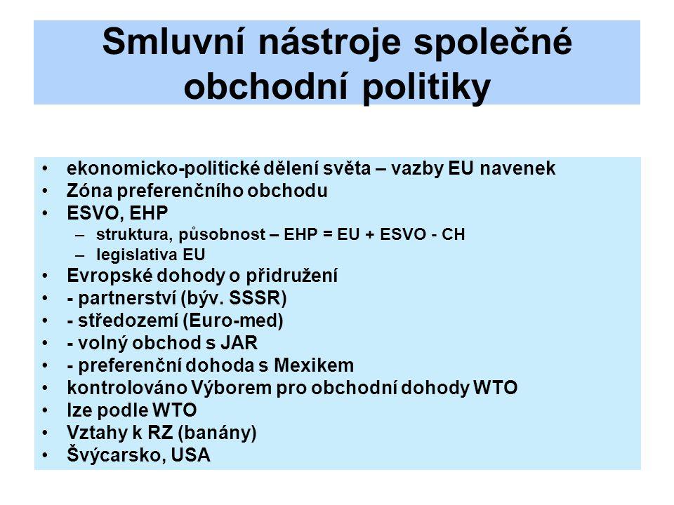 Smluvní nástroje společné obchodní politiky ekonomicko-politické dělení světa – vazby EU navenek Zóna preferenčního obchodu ESVO, EHP –struktura, působnost – EHP = EU + ESVO - CH –legislativa EU Evropské dohody o přidružení - partnerství (býv.