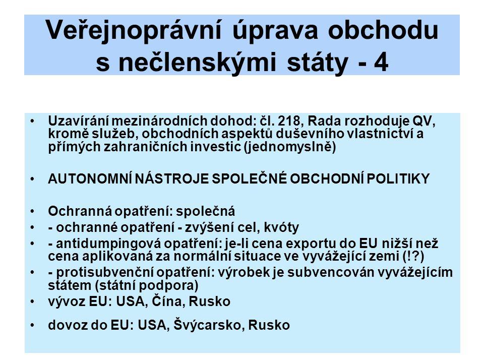 Veřejnoprávní úprava obchodu s nečlenskými státy - 4 Uzavírání mezinárodních dohod: čl. 218, Rada rozhoduje QV, kromě služeb, obchodních aspektů dušev