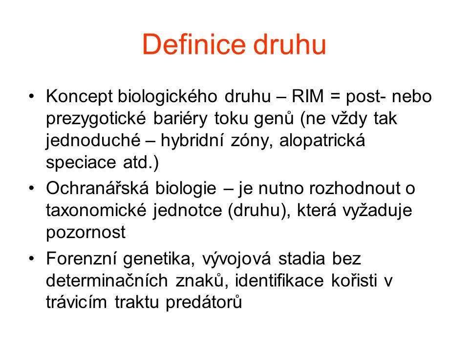 Příklad: Myotis blythii vs.Myotis myotis - introgrese mtDNA Berthier et al.