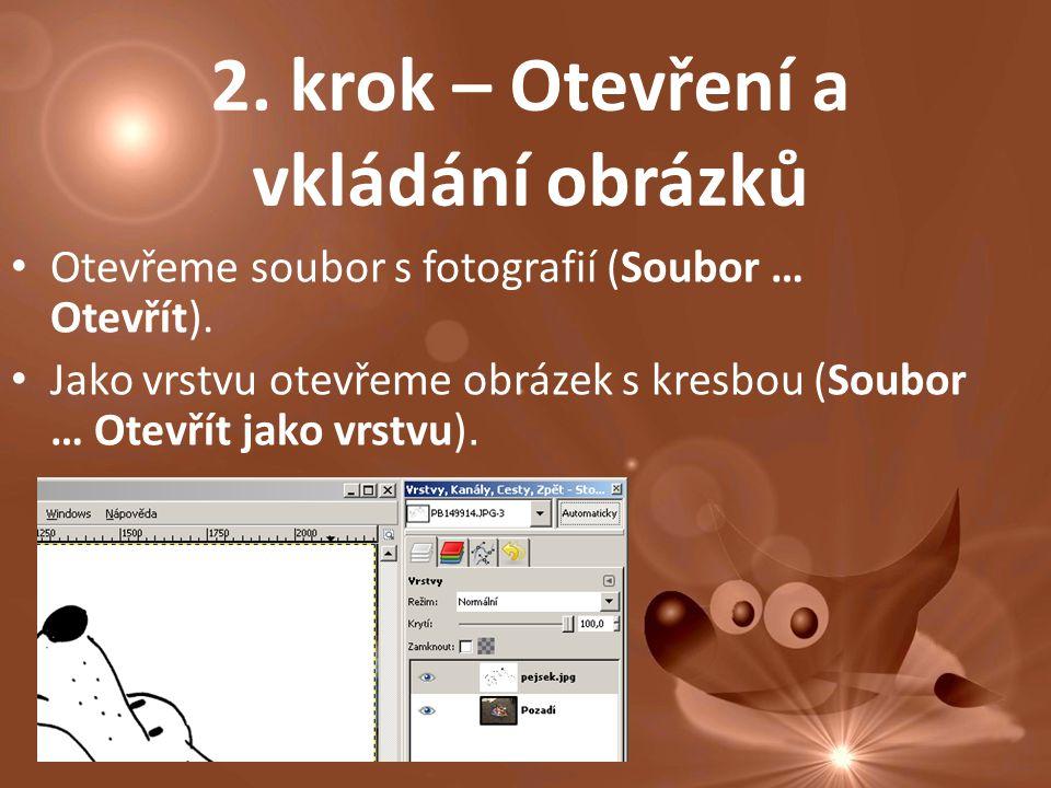 2. krok – Otevření a vkládání obrázků Otevřeme soubor s fotografií (Soubor … Otevřít).