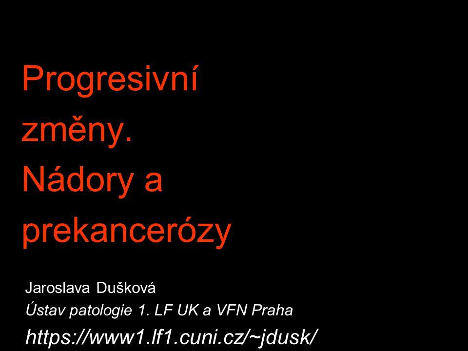 Progresivní změny. Nádory a prekancerózy Jaroslava Dušková Ústav patologie 1. LF UK a VFN Praha https://www1.lf1.cuni.cz/~jdusk/