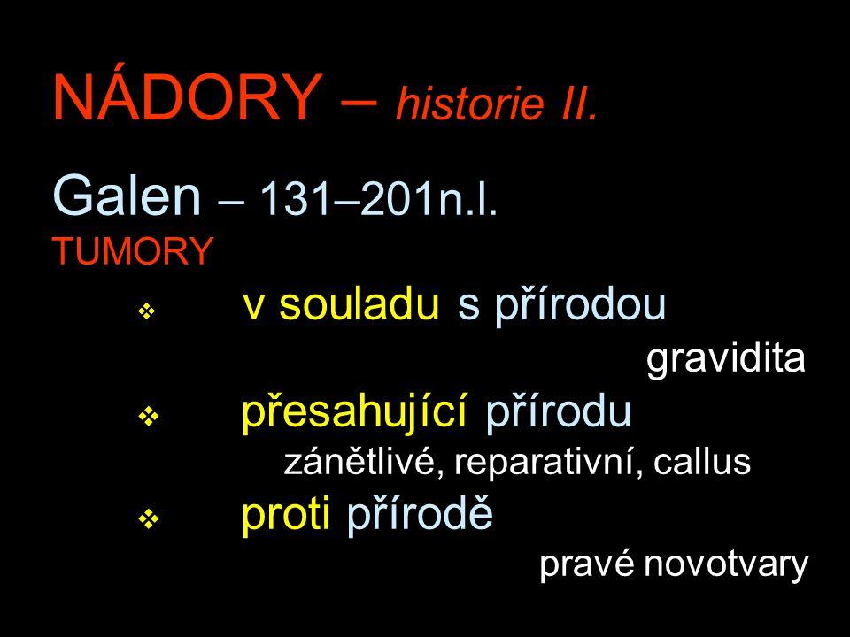 NÁDORY – historie II. Galen – 131–201n.l. TUMORY v v souladu s přírodou gravidita v přesahující přírodu zánětlivé, reparativní, callus v proti přírodě