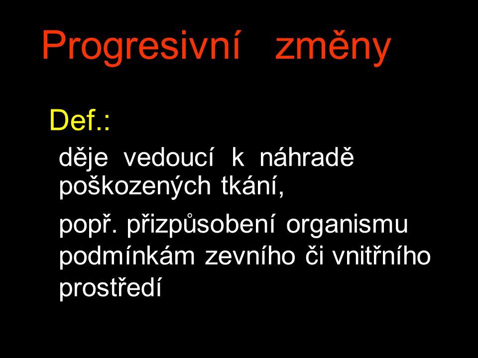 Progresivní změny Def.: děje vedoucí k náhradě poškozených tkání, popř. přizpůsobení organismu podmínkám zevního či vnitřního prostředí