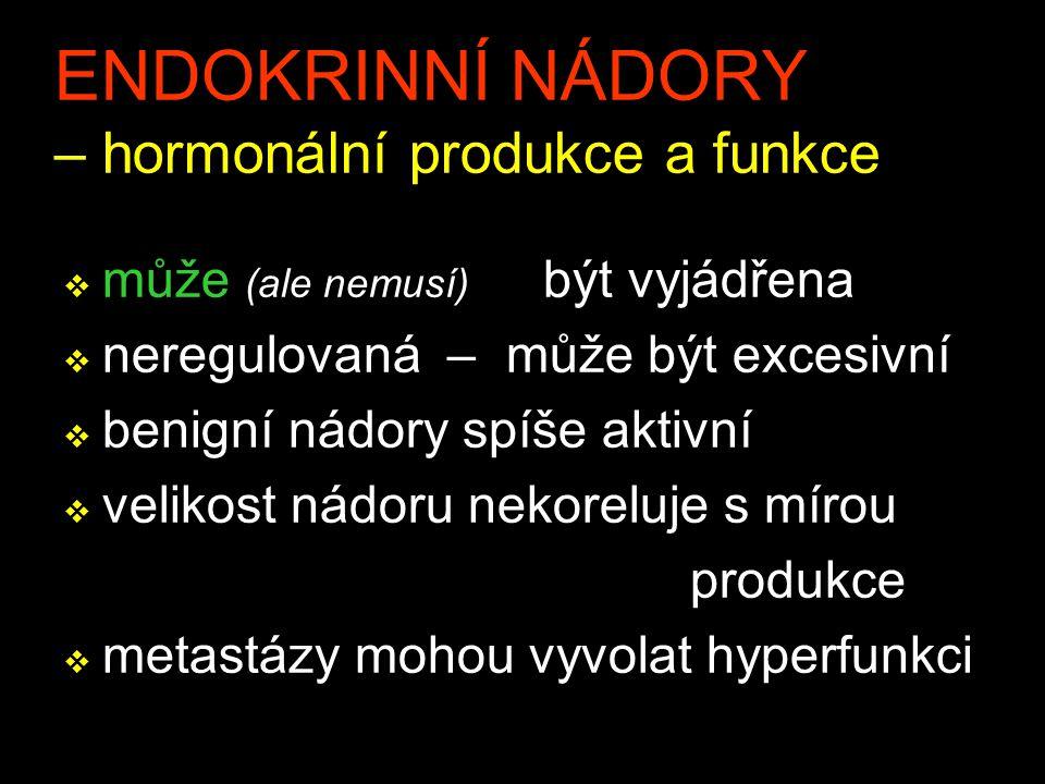 ENDOKRINNÍ NÁDORY – hormonální produkce a funkce v může (ale nemusí) být vyjádřena v neregulovaná – může být excesivní v benigní nádory spíše aktivní