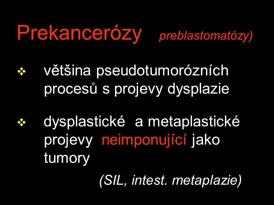 Prekancerózy preblastomatózy) v většina pseudotumorózních procesů s projevy dysplazie v dysplastické a metaplastické projevy neimponující jako tumory