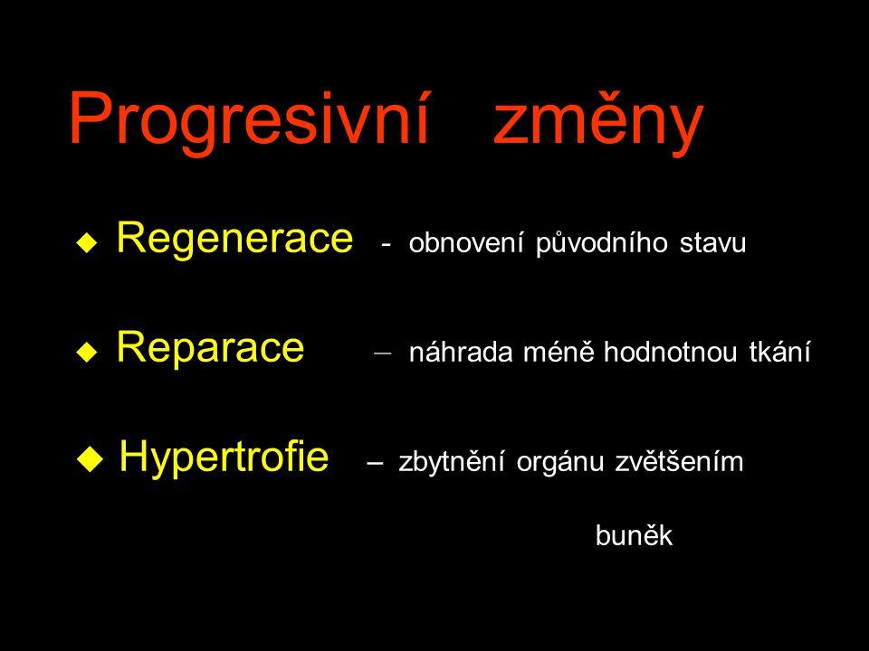 Progresivní změny  Regenerace - obnovení původního stavu  Reparace – náhrada méně hodnotnou tkání u Hypertrofie – zbytnění orgánu zvětšením buněk