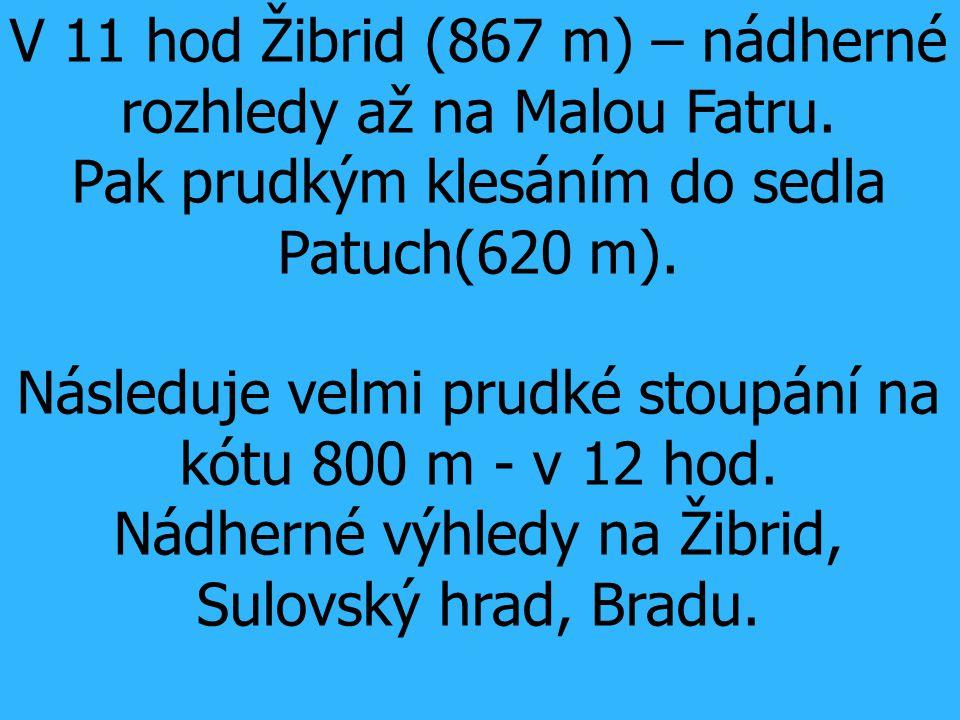 V 11 hod Žibrid (867 m) – nádherné rozhledy až na Malou Fatru. Pak prudkým klesáním do sedla Patuch(620 m). Následuje velmi prudké stoupání na kótu 80