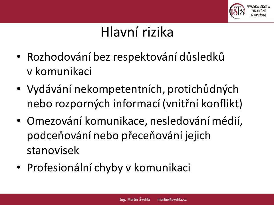 Rozhodování bez respektování důsledků v komunikaci Vydávání nekompetentních, protichůdných nebo rozporných informací (vnitřní konflikt) Omezování komu