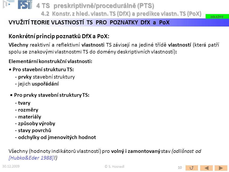VYUŽITÍ TEORIE VLASTNOSTÍ TS PRO POZNATKY DfX a PoX Konkrétní princip poznatků DfX a PoX: Všechny reaktivní a reflektivní vlastnosti TS závisejí na jediné třídě vlastností (která patří spolu se znakovými vlastnostmi TS do domény deskriptivních vlastností): Elementární konstrukční vlastnosti: Pro stavební strukturu TS: - prvky stavební struktury - jejich uspořádání Pro prvky stavební struktury TS: - tvary - rozměry - materiály - způsoby výroby - stavy povrchů - odchylky od jmenovitých hodnot Všechny (hodnoty indikátorů vlastností) pro volný i zamontovaný stav (odlišnost od [Hubka&Eder 1988]!) 30.12.2009 © S.