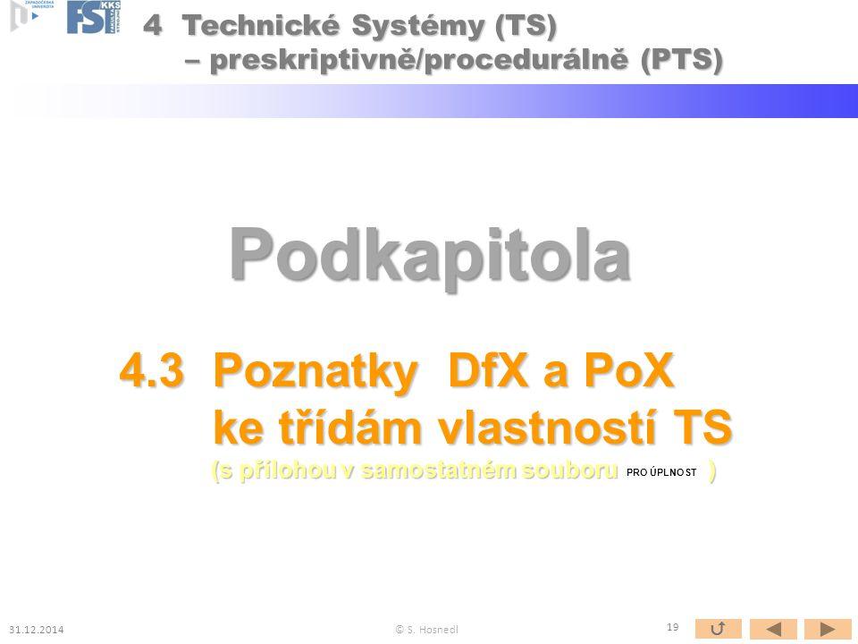 Podkapitola 4.3 Poznatky DfX a PoX ke třídám vlastností TS ke třídám vlastností TS (s přílohou v samostatném souboru ) (s přílohou v samostatném souboru ) PRO ÚPLNOST © S.
