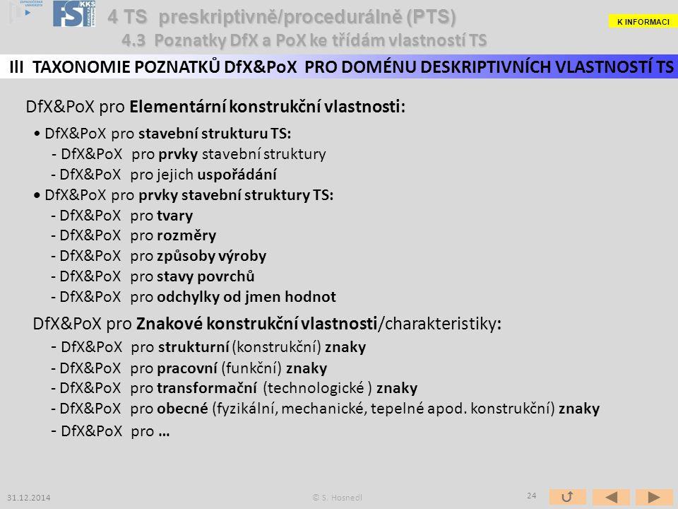 DfX&PoX pro Elementární konstrukční vlastnosti: DfX&PoX pro stavební strukturu TS: - DfX&PoX pro prvky stavební struktury - DfX&PoX pro jejich uspořádání DfX&PoX pro prvky stavební struktury TS: - DfX&PoX pro tvary - DfX&PoX pro rozměry - DfX&PoX pro způsoby výroby - DfX&PoX pro stavy povrchů - DfX&PoX pro odchylky od jmen hodnot DfX&PoX pro Znakové konstrukční vlastnosti/charakteristiky: - DfX&PoX pro strukturní (konstrukční) znaky - DfX&PoX pro pracovní (funkční) znaky - DfX&PoX pro transformační (technologické ) znaky - DfX&PoX pro obecné (fyzikální, mechanické, tepelné apod.