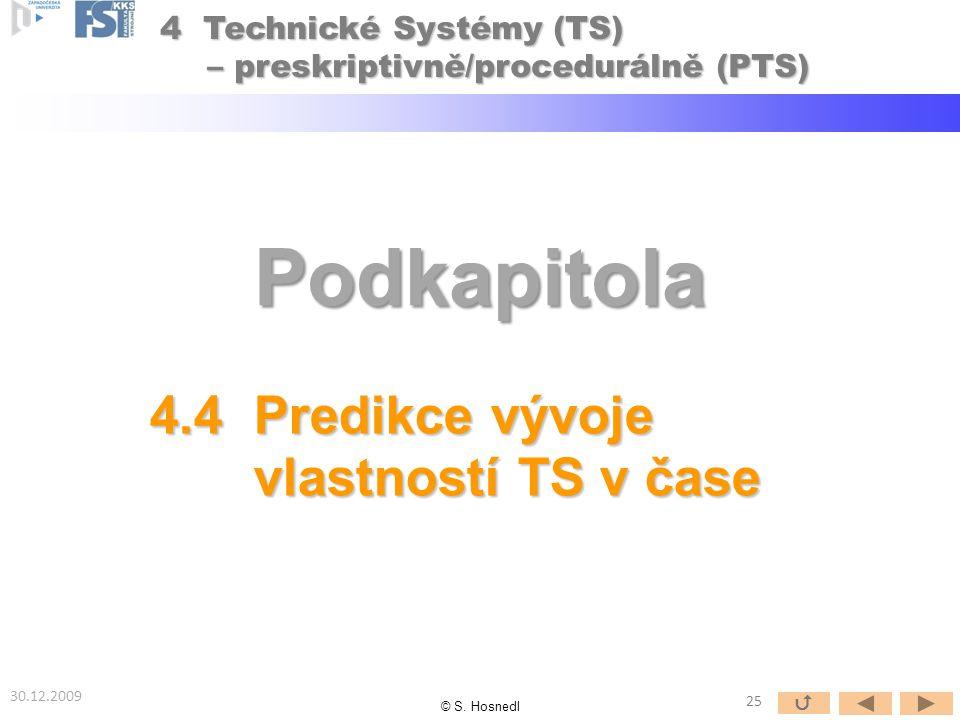 Podkapitola 4.4 Predikce vývoje vlastností TS v čase vlastností TS v čase 30.12.2009 © S.