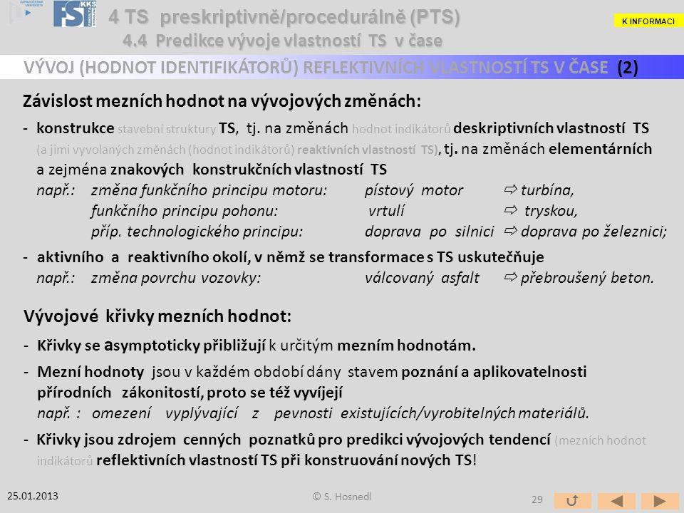 Závislost mezních hodnot na vývojových změnách: -konstrukce stavební struktury TS, tj.