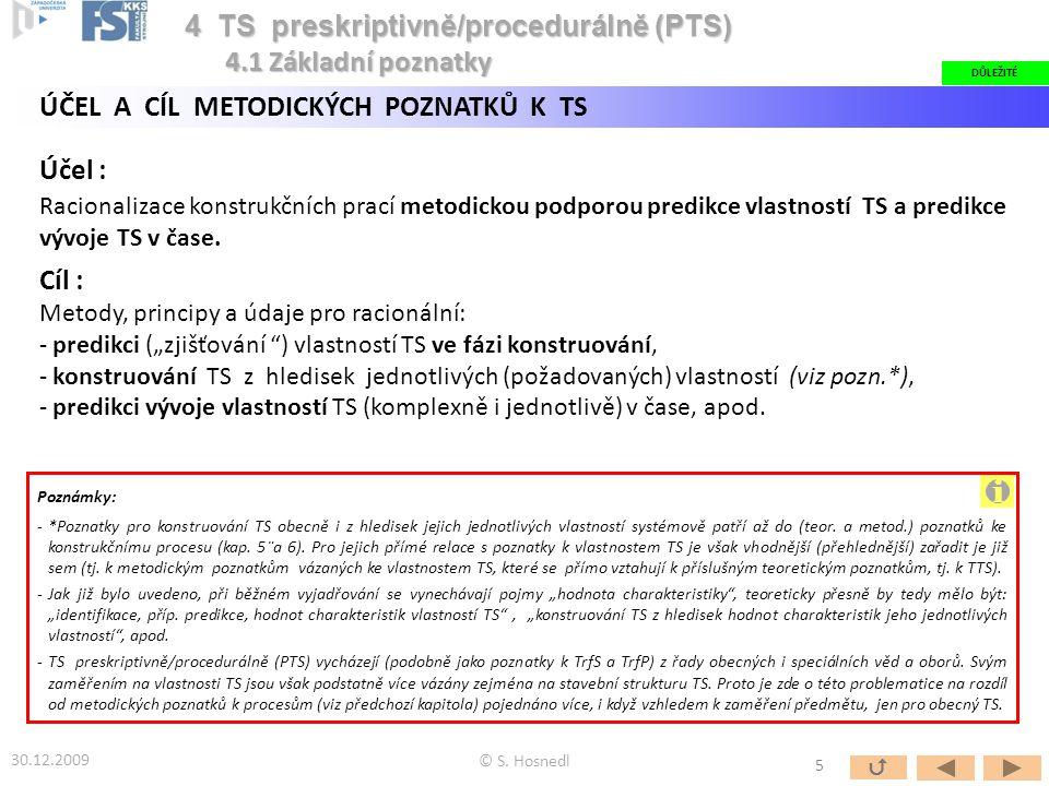 ÚČEL A CÍL METODICKÝCH POZNATKŮ K TS Účel : Racionalizace konstrukčních prací metodickou podporou predikce vlastností TS a predikce vývoje TS v čase.