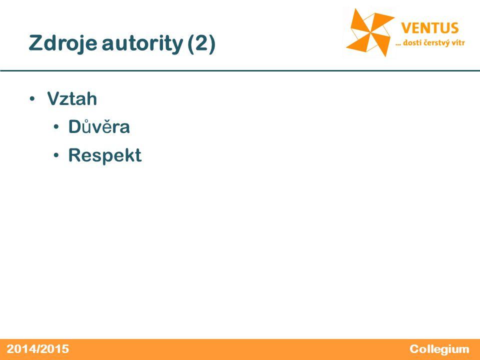 2014/2015 Zdroje autority (2) Vztah D ů v ě ra Respekt Collegium