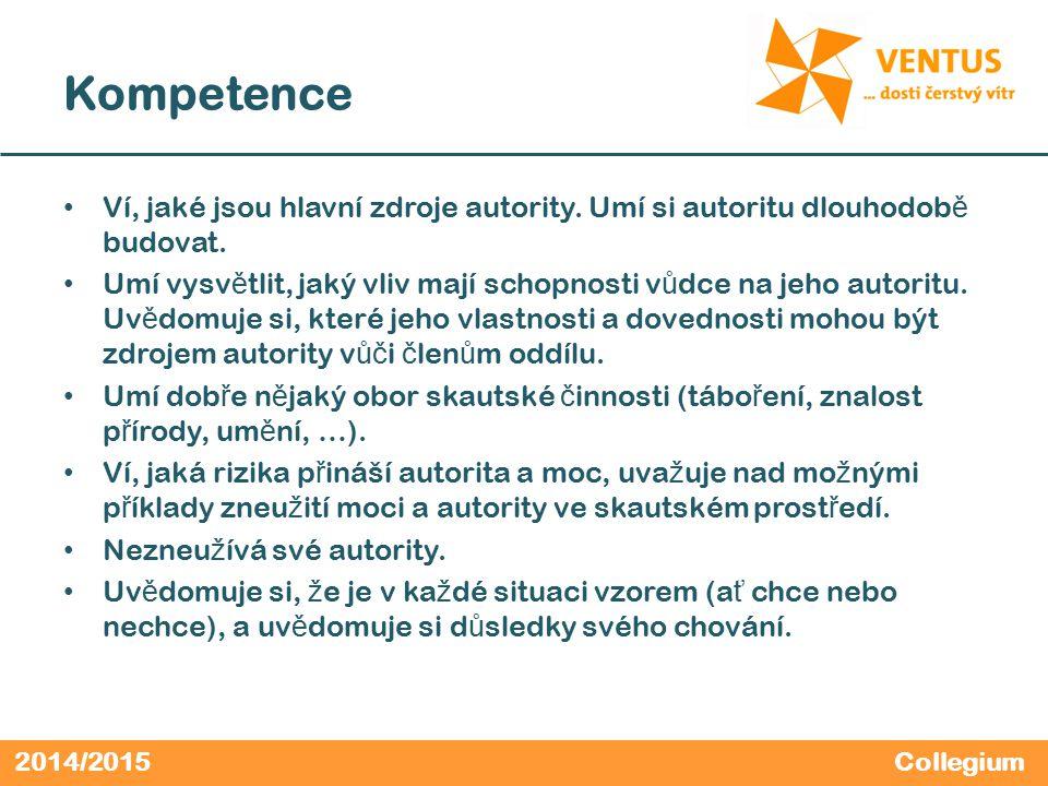 2014/2015 Kompetence Ví, jaké jsou hlavní zdroje autority. Umí si autoritu dlouhodob ě budovat. Umí vysv ě tlit, jaký vliv mají schopnosti v ů dce na