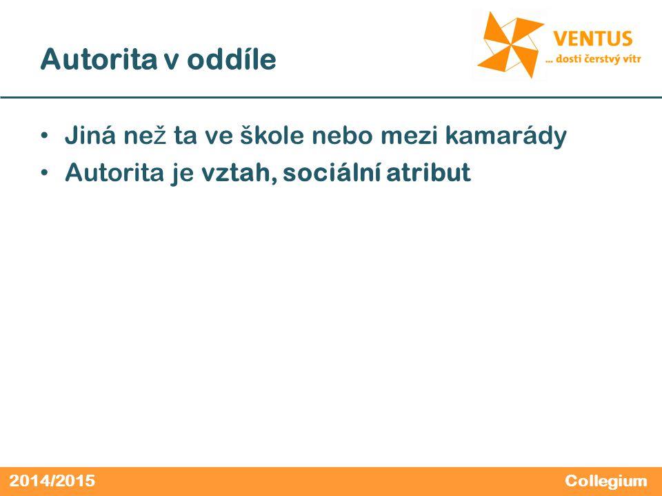 2014/2015 Autorita v oddíle Jiná ne ž ta ve škole nebo mezi kamarády Autorita je vztah, sociální atribut Collegium