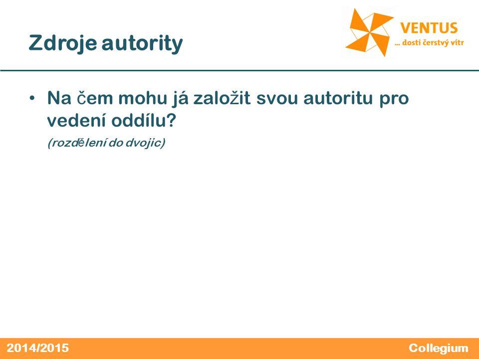 2014/2015 Zdroje autority Na č em mohu já zalo ž it svou autoritu pro vedení oddílu? (rozd ě lení do dvojic) Collegium