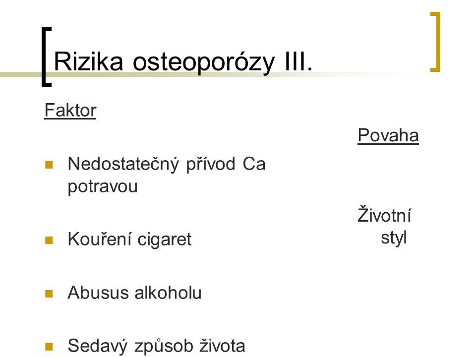 Rizika osteoporózy II.Faktor Deficit estrogenů Hyperthyroidismus Prim.