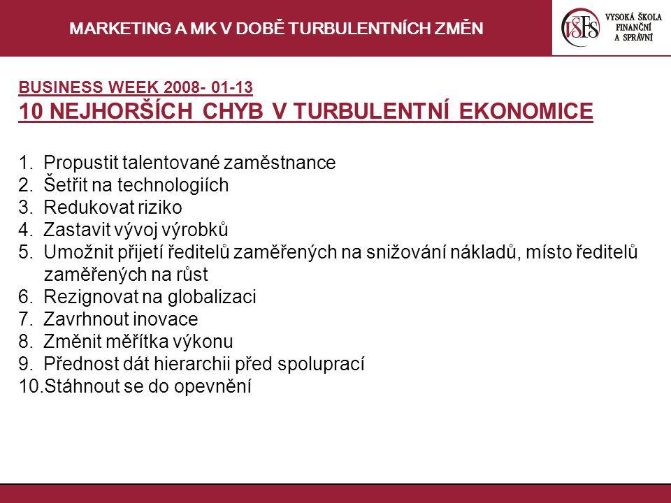 MARKETING A MK V DOBĚ TURBULENTNÍCH ZMĚN BUSINESS WEEK 2008- 01-13 10 NEJHORŠÍCH CHYB V TURBULENTNÍ EKONOMICE 1.Propustit talentované zaměstnance 2.Šetřit na technologiích 3.Redukovat riziko 4.Zastavit vývoj výrobků 5.Umožnit přijetí ředitelů zaměřených na snižování nákladů, místo ředitelů zaměřených na růst 6.Rezignovat na globalizaci 7.Zavrhnout inovace 8.Změnit měřítka výkonu 9.Přednost dát hierarchii před spoluprací 10.Stáhnout se do opevnění