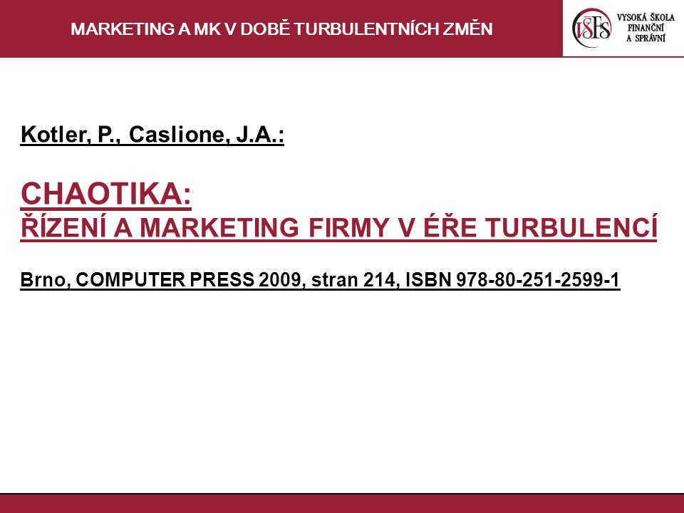 MARKETING A MK V DOBĚ TURBULENTNÍCH ZMĚN Kotler, P., Caslione, J.A.: CHAOTIKA: ŘÍZENÍ A MARKETING FIRMY V ÉŘE TURBULENCÍ Brno, COMPUTER PRESS 2009, stran 214, ISBN 978-80-251-2599-1