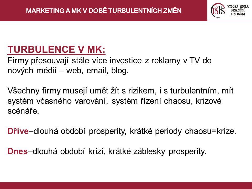 MARKETING A MK V DOBĚ TURBULENTNÍCH ZMĚN TURBULENCE V MK: Firmy přesouvají stále více investice z reklamy v TV do nových médií – web, email, blog.