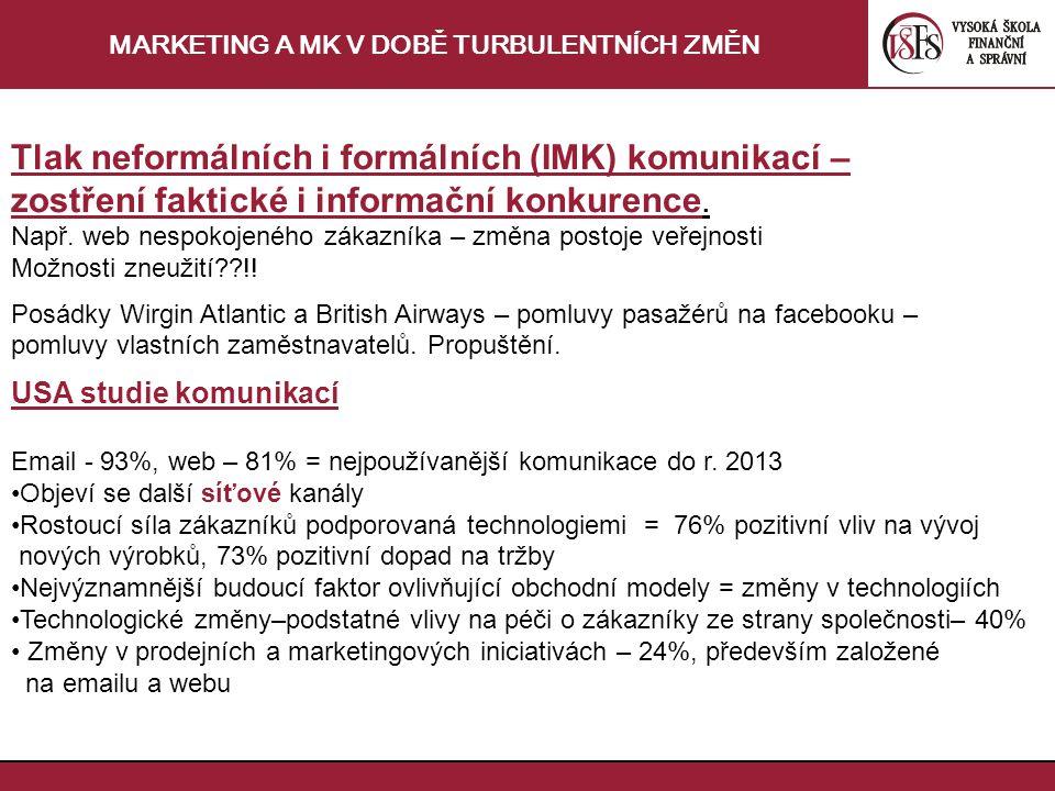 MARKETING A MK V DOBĚ TURBULENTNÍCH ZMĚN Tlak neformálních i formálních (IMK) komunikací – zostření faktické i informační konkurence.