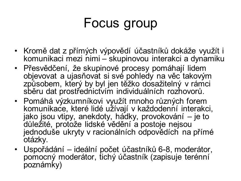 Focus group Kromě dat z přímých výpovědí účastníků dokáže využít i komunikaci mezi nimi – skupinovou interakci a dynamiku Přesvědčení, že skupinové pr