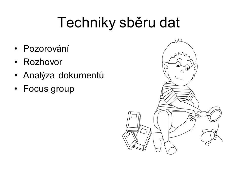 Techniky sběru dat Pozorování Rozhovor Analýza dokumentů Focus group