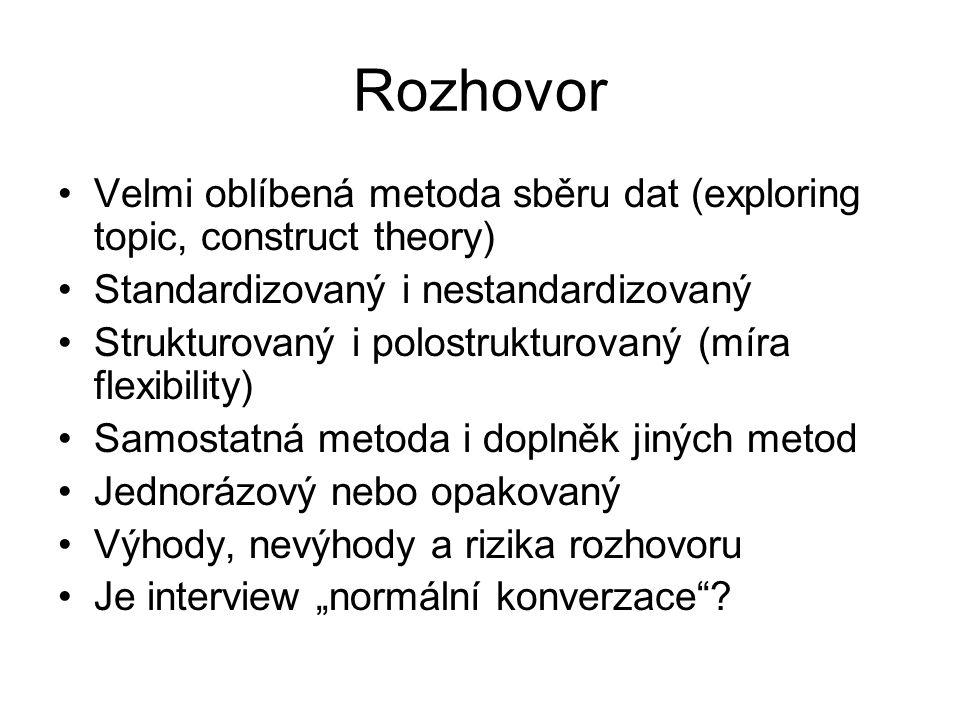 Rozhovor Velmi oblíbená metoda sběru dat (exploring topic, construct theory) Standardizovaný i nestandardizovaný Strukturovaný i polostrukturovaný (mí