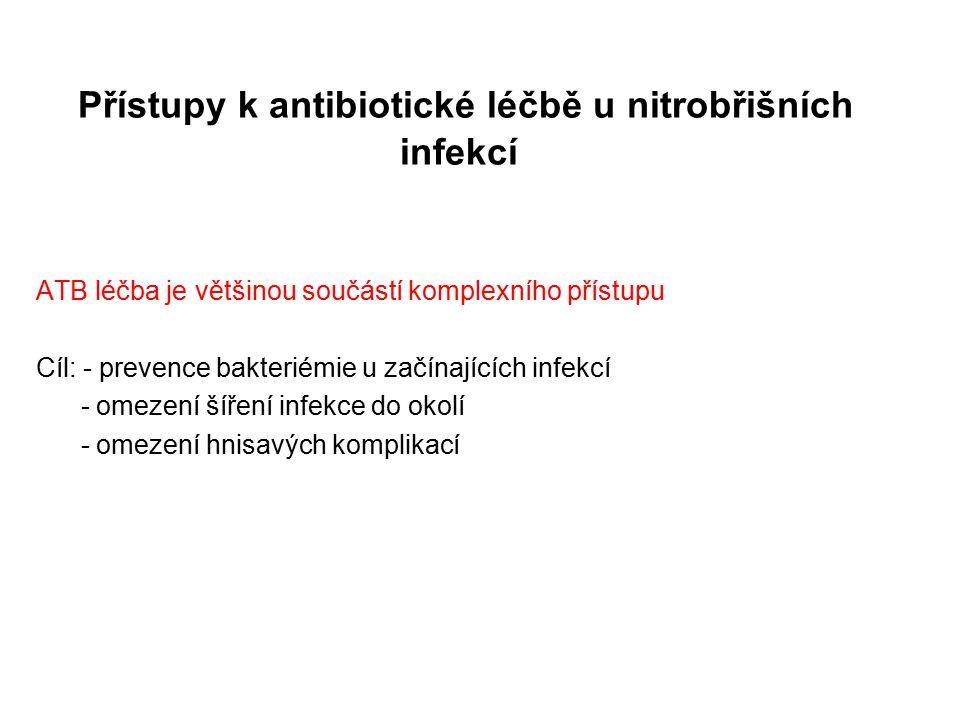 Přístupy k antibiotické léčbě u nitrobřišních infekcí ATB léčba je většinou součástí komplexního přístupu Cíl: - prevence bakteriémie u začínajících i