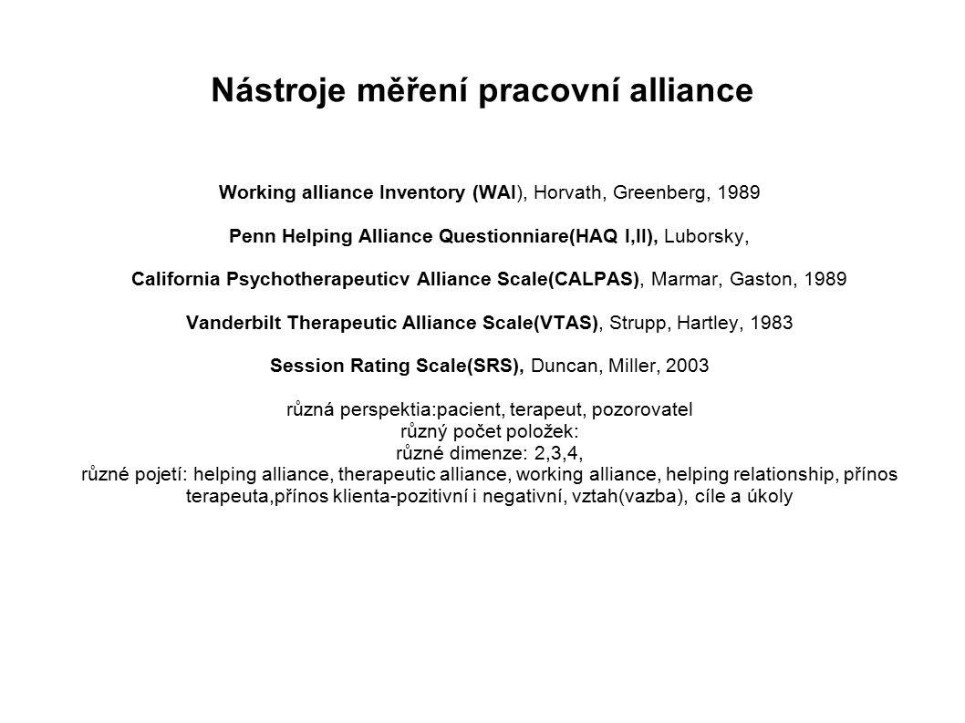 Nástroje měření pracovní alliance Working alliance Inventory (WAI), Horvath, Greenberg, 1989 Penn Helping Alliance Questionniare(HAQ I,II), Luborsky, California Psychotherapeuticv Alliance Scale(CALPAS), Marmar, Gaston, 1989 Vanderbilt Therapeutic Alliance Scale(VTAS), Strupp, Hartley, 1983 Session Rating Scale(SRS), Duncan, Miller, 2003 různá perspektia:pacient, terapeut, pozorovatel různý počet položek: různé dimenze: 2,3,4, různé pojetí: helping alliance, therapeutic alliance, working alliance, helping relationship, přínos terapeuta,přínos klienta-pozitivní i negativní, vztah(vazba), cíle a úkoly