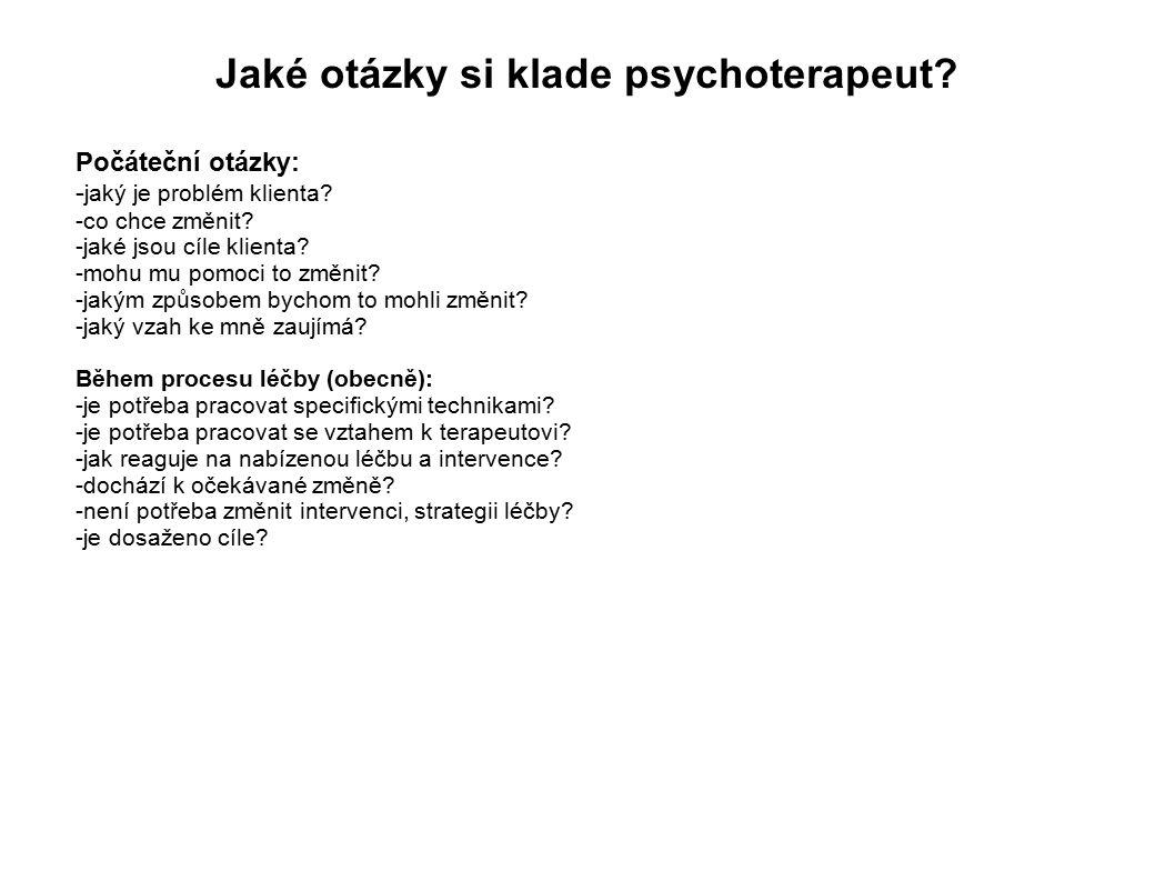 Jaké otázky si klade psychoterapeut.Počáteční otázky: - jaký je problém klienta.